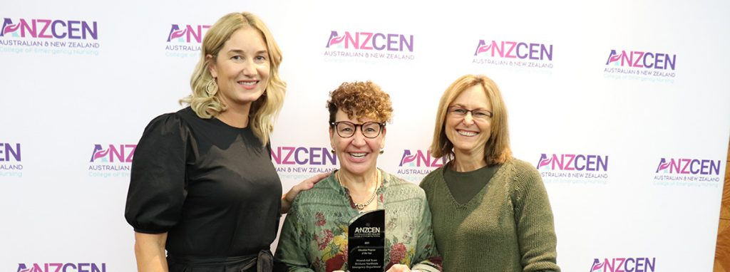 ANZCEN Faculty Chair Tara Pidgeon with Janice Hay and Rae Cole from the Brisbane Northside Emergency Department Wound Aid Team who won the Education Program of the Year award at the 2021 Emergency Nursing Education Awards.