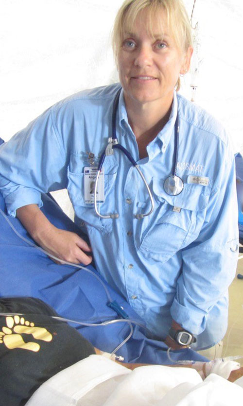 A nurse practitioner in emergency at the Cairns Hospital, Angie Jackson, has also assisted with disaster response as part of AUSMAT